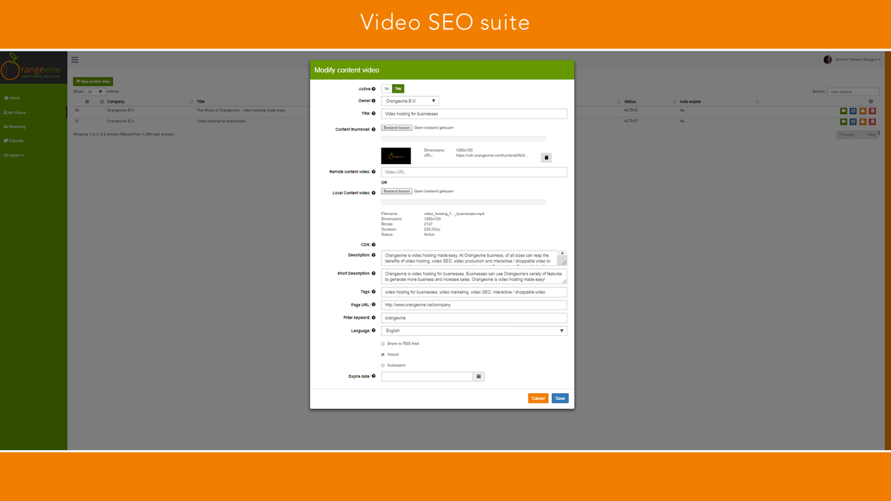 Orangevine video SEO suite orange